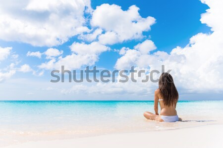 Sexy bikini woman on Caribbean white sand beach Stock photo © Maridav