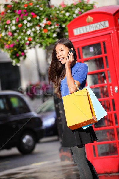 London woman talking smartphone shopping Stock photo © Maridav