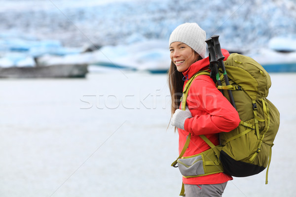 Hiking adventure trekking woman by glacier Iceland Stock photo © Maridav