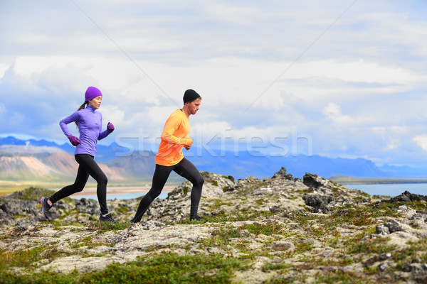 Running people cross country trail runners Stock photo © Maridav