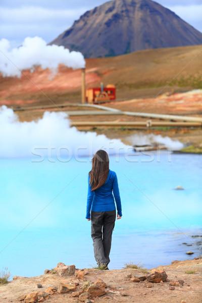 IJsland thermisch bad energie energiecentrale meer vrouw Stockfoto © Maridav