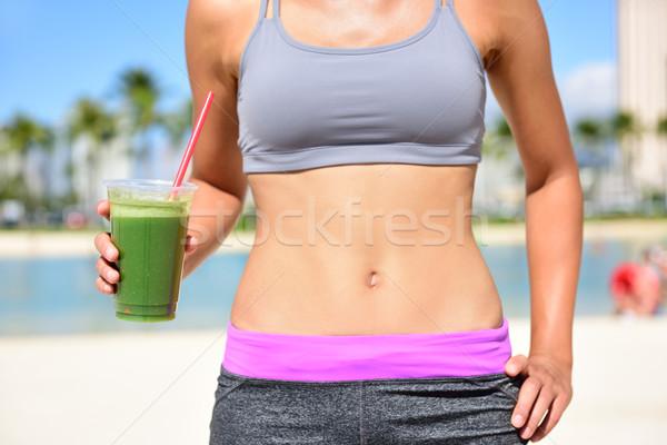 Stockfoto: Vrouw · drinken · fitness · vrouw · groene