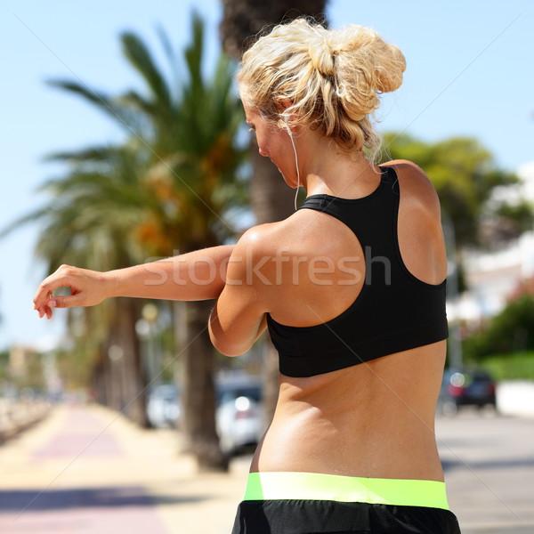 Deporte femenino corredor armas ejecutando Foto stock © Maridav