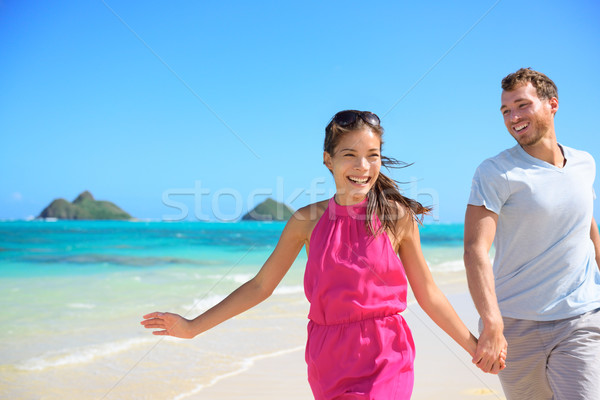 Stockfoto: Gelukkig · paar · strand · lopen · Hawaii