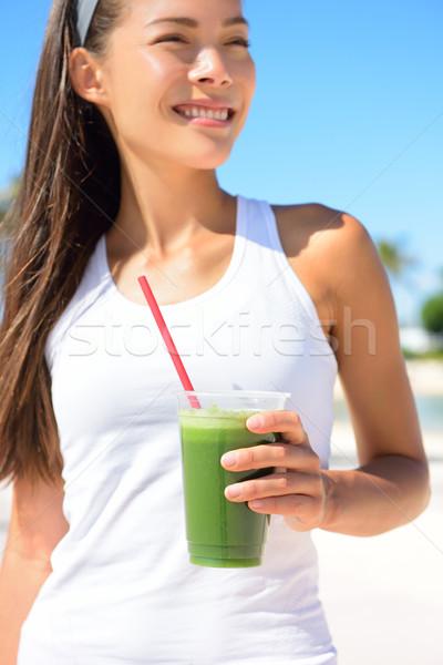 グリーンスムージー 女性 ジュース 太陽 ストックフォト © Maridav