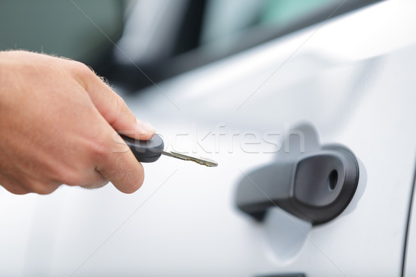 Man driver unlocking or locking car door with key Stock photo © Maridav