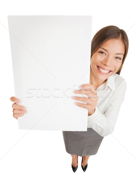 Poster sign woman showing blank placard Stock photo © Maridav