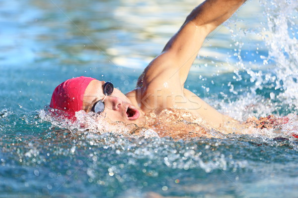 Man swimmer swimming crawl in blue water Stock photo © Maridav