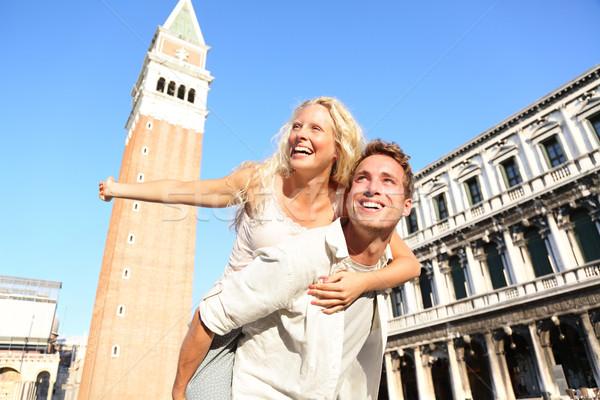 Stock photo: Romantic couple in love having fun in Venice