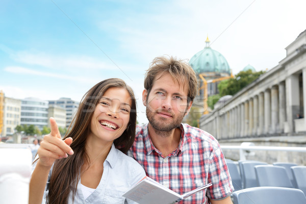 Travel tourist couple on boat tour Berlin, Germany Stock photo © Maridav