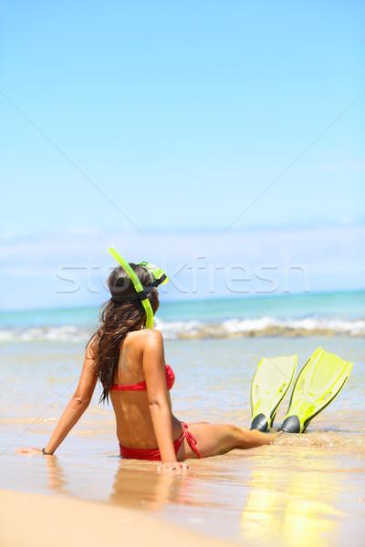 Woman relaxing on summer beach vacation holidays Stock photo © Maridav