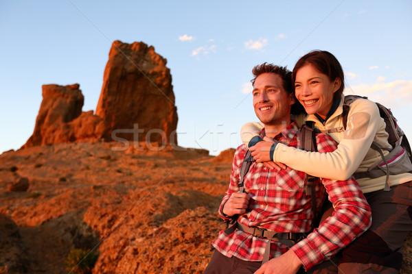 Happy couple active lifestyle hiking outdoors Stock photo © Maridav
