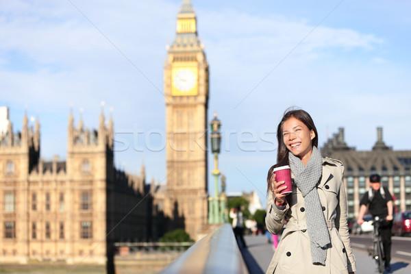 ロンドン 女性 幸せ ビッグベン 笑い 飲料 ストックフォト © Maridav