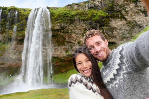 Iceland couple selfie wearing Icelandic sweaters Stock photo © Maridav