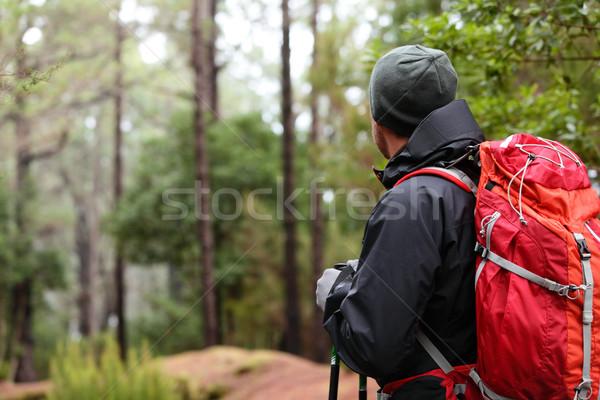 Foto d'archivio: Escursionista · indossare · escursioni · zaino · giacca · escursione