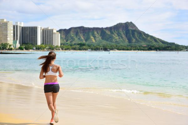 Női futó nő fut jogging tengerpart Stock fotó © Maridav