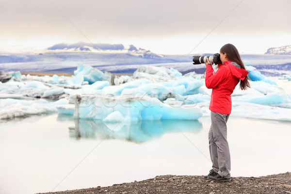 Nature landscape photographer taking on Iceland Stock photo © Maridav