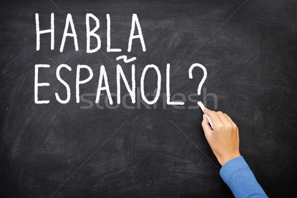 Spanyol tanul nyelv ötlet tanár diák Stock fotó © Maridav