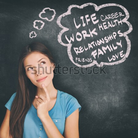 Stock photo: Woman thinking blackboard