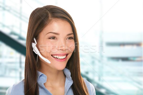 Casque service clients femme centre d'appel secrétaire parler Photo stock © Maridav