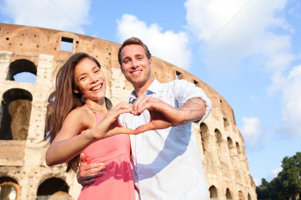 романтические путешествия пару Рим Колизей Италия Сток-фото © Maridav