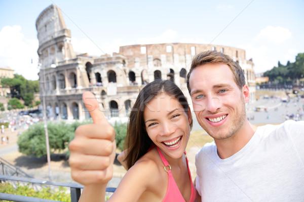 Selfie - Romantic travel couple by Coliseum, Rome Stock photo © Maridav