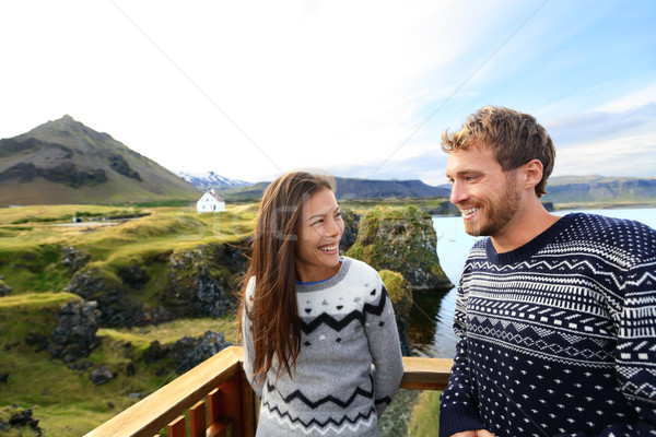 Tourist couple on romantic travel on Iceland Stock photo © Maridav
