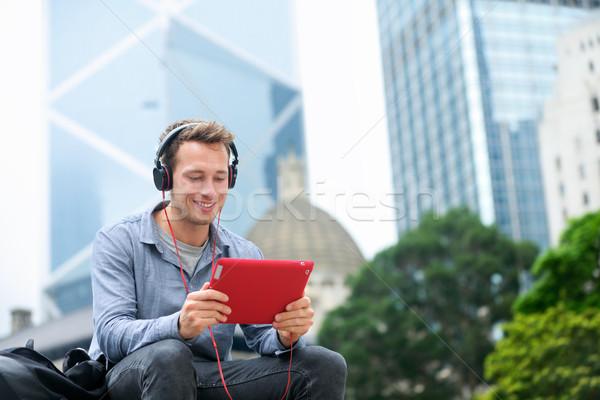 Man praten video chat gesprek Stockfoto © Maridav