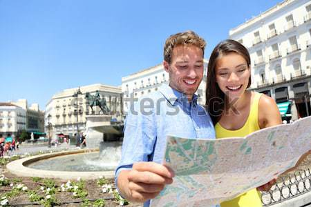 Tourists couple reading travel book on Berlin boat Stock photo © Maridav