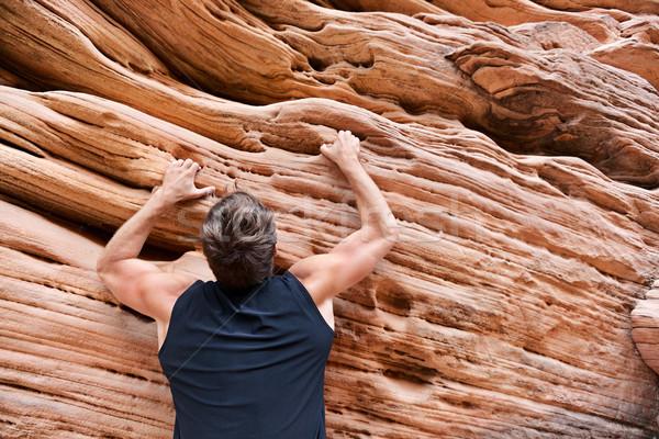 человека свободный скалолазания рок мужчины спортсмена Сток-фото © Maridav