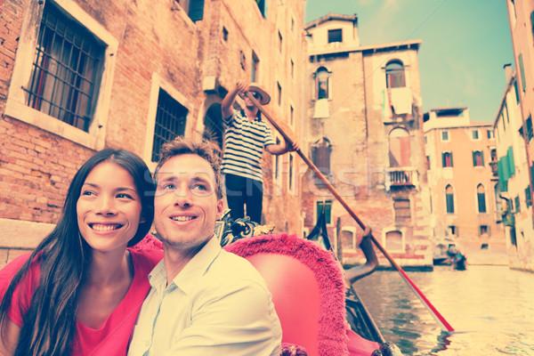 Voyage couple Venise gondole bateau Romance Photo stock © Maridav