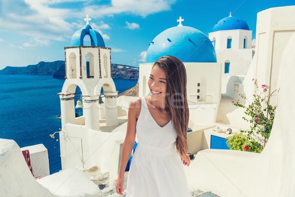 Stok fotoğraf: Avrupa · seyahat · yaz · hedef · santorini · adası · turist