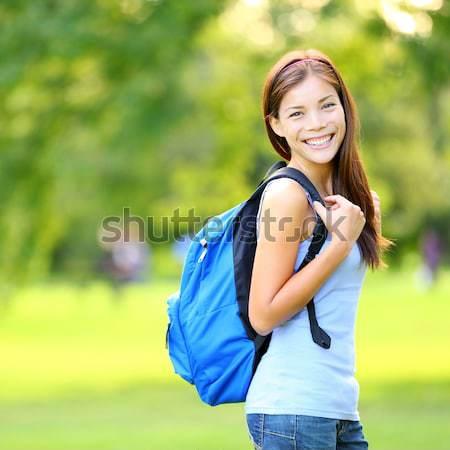 Foto stock: Menina · estudante · verão · primavera · parque · em · pé
