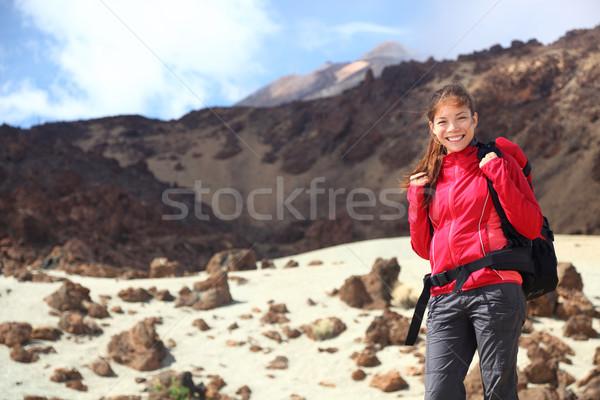 Kirándulás női természetjáró Tenerife park csúcs Stock fotó © Maridav
