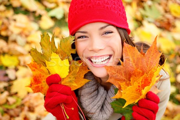 Foto stock: Outono · mulher · cair · folhas · floresta
