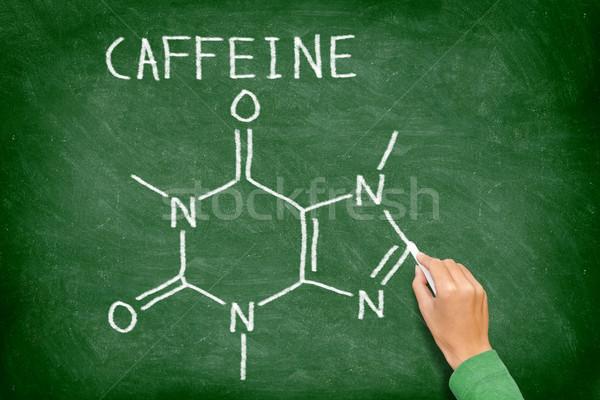 Kofeina tablicy chemicznych struktury Tablica rysunek Zdjęcia stock © Maridav