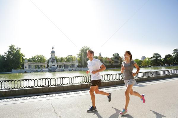Бегуны бег работает Мадрид парка город Сток-фото © Maridav