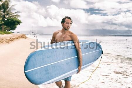Szörfös férfi szörfözik Hawaii szörf felirat Stock fotó © Maridav