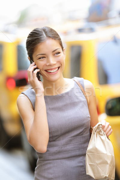 女性実業家 ニューヨーク市 ニューヨーク 話し 電話 徒歩 ストックフォト © Maridav