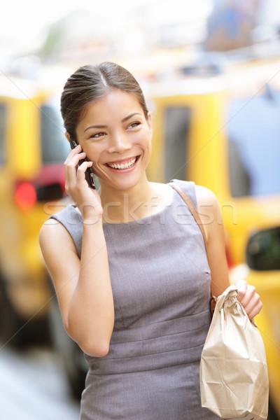 Stockfoto: Zakenvrouw · New · York · City · New · York · praten · telefoon · lopen