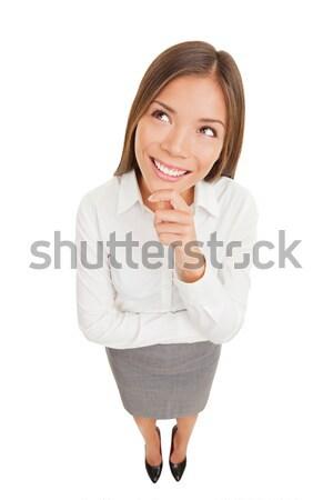 Foto stock: Pensando · hermosa · sonriendo · mujer · de · negocios · aislado