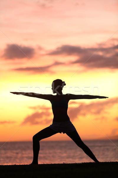 Stock fotó: Jóga · nő · képzés · meditál · harcos · póz