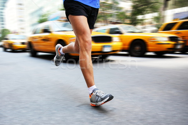 Courir New York City homme ville coureur jogging Photo stock © Maridav