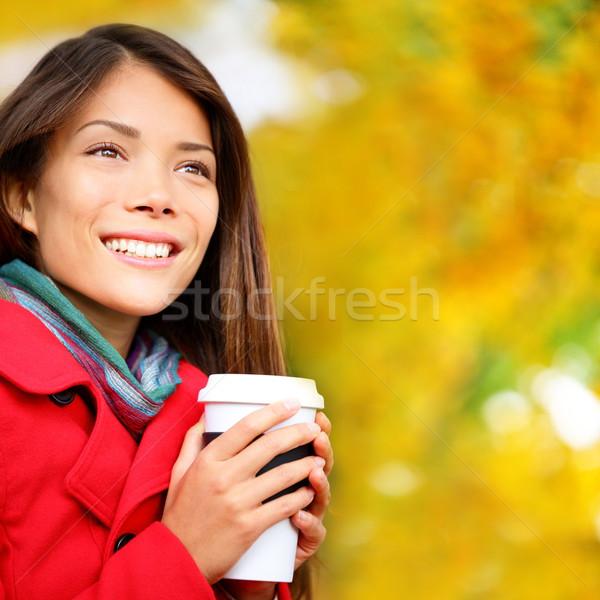 Coffee woman drinking coffee outside in fall Stock photo © Maridav