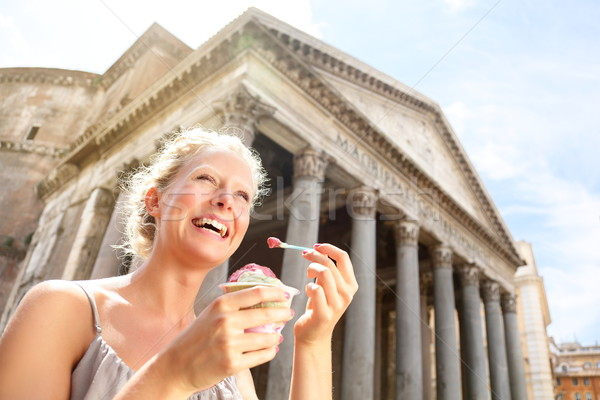 Girl eating ice cream by Pantheon, Rome, Italy Stock photo © Maridav