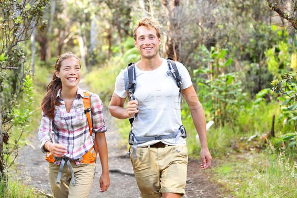 Outdoor activity couple hiking - happy hikers Stock photo © Maridav