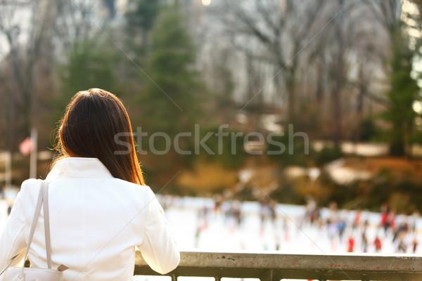 Central Park schaatsen vrouw New York City laat Stockfoto © Maridav