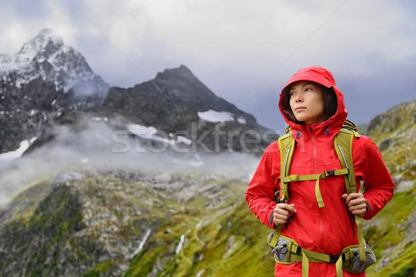 Stock fotó: Alpok · kirándulás · természetjáró · nő · Svájc · hegyek