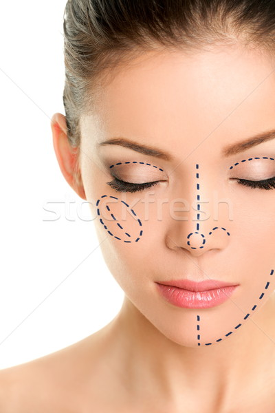 Plastic surgery lines on Asian woman face Stock photo © Maridav