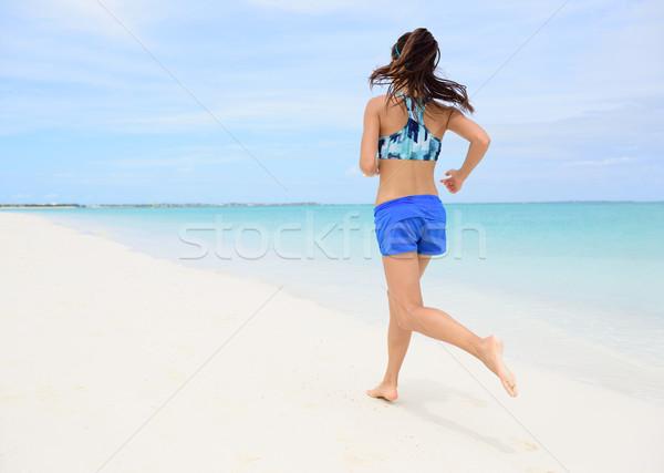 Runner opleiding cardio lopen strand achteraanzicht Stockfoto © Maridav